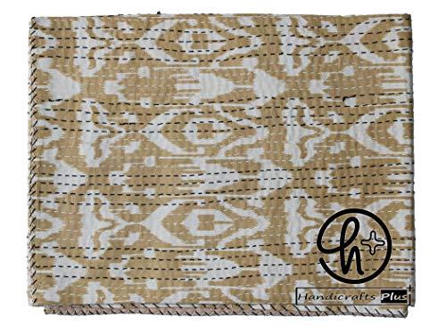 Colcha de algodón Kantha para el hogar con diseño de ralli bohemio, color beige
