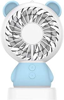 【正規品】WAYONE ミニ扇風機 手持ち扇風機 充電式 小型 携帯 卓上置き両用扇風機 風量2段階調節 多色LEDライト付きミニファン ハンディ ファン7枚羽根 携帯便利 動物 可愛い 軽量 熱中症対策 (くま) (ブルー)