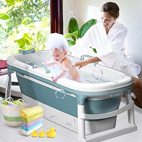 InLoveArts baignoire pliable adulte bébé,baignoire portable pliable pour bébé douche avec couvercle thermostatique, spa en...