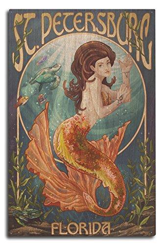 Lantern Press St. Petersburg, Florida - Mermaid (10x15 Wood Wall Sign, Wall Decor Ready to Hang)