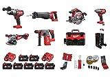 Milwaukee M18 ALLROUND - Set de batería para FPD, CHX, CAG, VC2, ONESX, FMTIWF12, CCS55, 7 baterías de 5 Ah, 2 cargadores y muchos accesorios