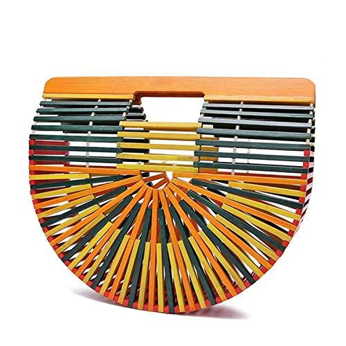 striped hollow ladies bag half moon shaped beach woman's handbag bamboo travel hollow bag,Colorful