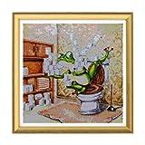 Bimkole 5d Diamond Painting Kit Bricolaje Arte Rana De Baño, Del Arte Del Marco De Madera Pintura Diamantes Kits Estampados De Punto De Cruz Diamantes de Imitación Decoración de Pared, (40x40 cm)