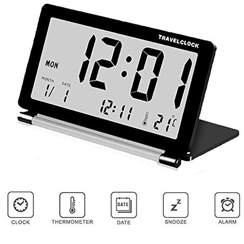 Soekavia Reise-Wecker, LCD-Anzeige, elektronisch, ultradünn, tragbar, faltbar schwarz