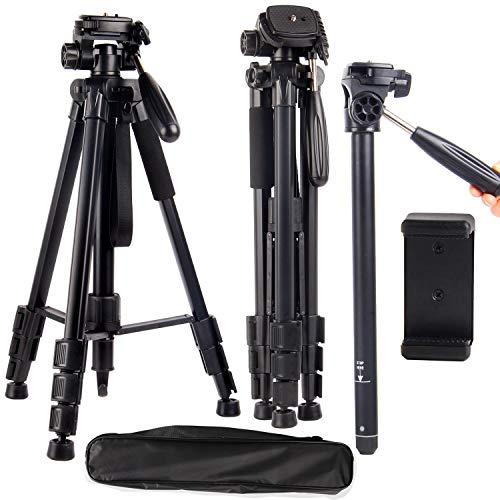 "Regetek Camera Tripod Travel Monopod(65"" Aluminum Professional Video Camera Mount Leg) Adjustable Stand with Flexible Head for Canon Nikon DV DSLR Camcorder Gopro cam& Carry Bag"