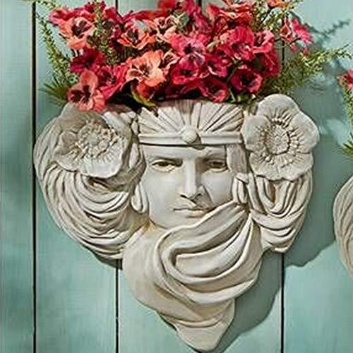 YYDS Jardinera de Pared de Resina para Hombre Verde francés Le Printemps y Le Etoile-8x8 Pulgadas Escultura de niña pequeña Maceta Colgante de Piedra Antigua (Le Printemps)