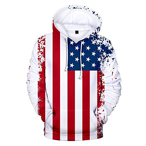Plus Size USA Sweatshirt Hoodie for Men or Women, American Flag Patriotic Jacket Sweater,Distressed American Flag Pullover Hoodie,Unisex Long Sleeve 3D Funny Print Sweatshirts