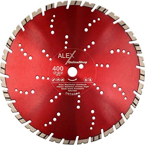 PREMIUM Diamant-Trennscheibe 400 mm x 25,4 mm für Granit-Borde Stahl-Beton Naturstein Scheibe passend für Schneidetisch Trennschleifer Motorflex Fugenschneider Stein-Säge 400mm