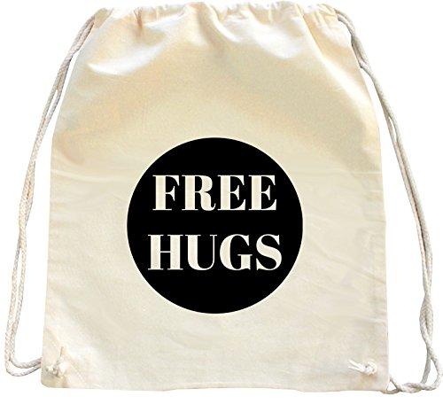 Mister Merchandise Turnbeutel Natur Rucksack Free Hugs, Farbe: Natur