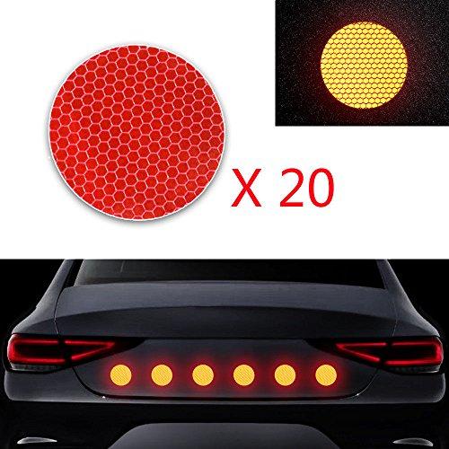 Cobear 20x Hoch Intensives Reflektoren Aufkleber Selbstklebend für LKW Auto Motorrad Boot Fahrrad Anhänger Helm Taschen Sicherheit Warnklebeband Sicherheit Markierung Band Runde Form rot