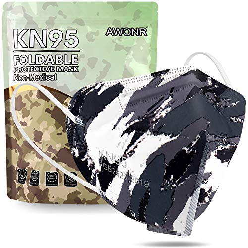 KN95 Face Mask - AWONR 25 Pack Disposable Safety KN95 Masks 5-Ply Protection Comfortable Fit for Men & Women - Gray Camo
