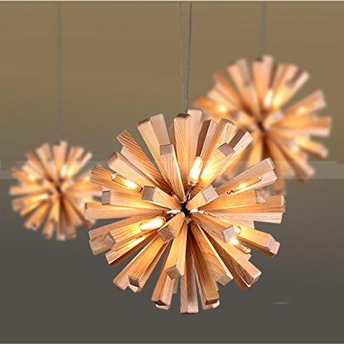 Verlichting houten kluis restaurantluster houten kluis hanglamp binnenverlichting (grootte: 35cm)