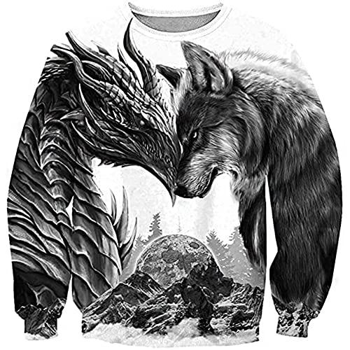 Viking Dragon Y Fenrir Wolf Tattoo Sudadera con Capucha para Hombre Impreso En 3D Mitología Nórdica Sudadera Informal Suelta Otoño Moda Pullover Chaqueta De Pareja De Gran Tamaño,Sweatshirt,S