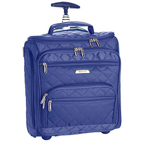 16.5' Underseat Women Suitcase Luggage Carry On - Small Rolling Tote Bag with Wheels (Midnight Blue)