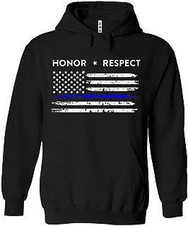 SR Thin Blue Line American Flag Honor Respect Policeman Hoodie Classic Arm Police Officer Sweatshirt