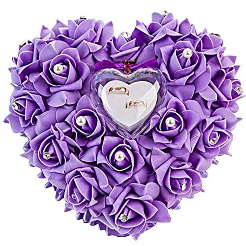 Yosoo Romantic Rose Hochzeit Ringkissen Ring Box Herz Bevorzugungen Ehering Kissen mit eleganter Satin Flora (1 Lila)