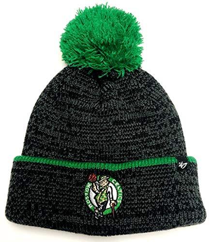 '47 Boston Celtics Fairbanks Black Cuff Pom Knit Hat Cap Adult Winter Beanie