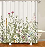 Dimmo Floral Kräuter Duschvorhänge Vintage botanische rosa Wilde Blumen Gras Blatt Pflanzen Kunstwerk Stoff Stoff Dekor Set mit 12 Pack Haken 71