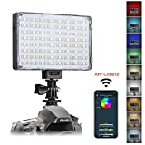 GVM RGB LED Camera Light Full Color Output Video Lights with APP Control CRI97 Dimmable 3200K-5600K Light Panel for YouTube DSLR Camera Camcorder Photo Lighting, with Battery, Filter, LCD Displa