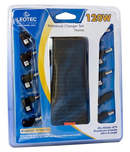 Leotec LENCSHOME08 - Cargador universal para notebook, 120W, color negro, 25