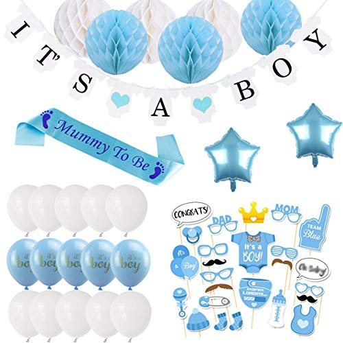 BEMEI Baby Shower Deco Boy Set, Baby Shower Party Deco Garland, 6pcs Honeycomb Balls, Mummy to Be Sash, Foto Puntelli Maschere, Confetti Baby Shower, 10pcs Balloons (Blu)