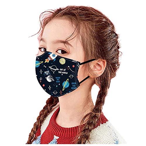 Mundschutz Kinder Baumwolle Cartoon Druck Verstellbarer Hängendes Ohr StaubschutZ, Atmungsaktive Waschbar Half Face Halstuch für Jungen und Mädchen 5 Stück