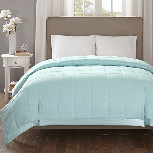 Madison Park Down Alternative Blanket Hypoallergenic 3M Scotchgard Stain Resistant Bedroom Bedding, Oversized King, Cambria Aqua