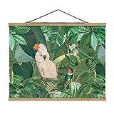 Stoffbild mit Posterleisten - Vintage Collage - Kakadu und Kolibri 75cm x 100cm Eiche