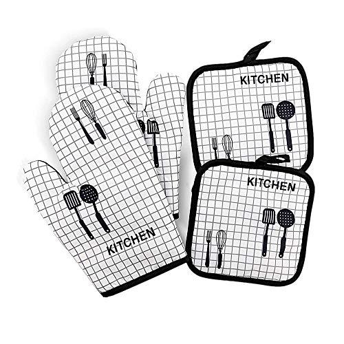 Voarge Juego de guantes de horno y manoplas de cocina de algodón,...