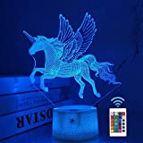 Einhorn Nachtlicht Kinder Nachtlicht 3D Optische Täuschung 16 Farben Ändern Beleuchtung Geburtstag Weihnachten Erstaunliche Geschenke für Baby Kinder Mädchen