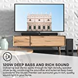AZATOM Studio Premier 2.1 Soundbar and Subwoofer, 120W, 3D Surround Sound, Stream Wireless Bluetooth, Remote Control, Wall Mountable, HDMI ARC, Optical compatible (32inch)