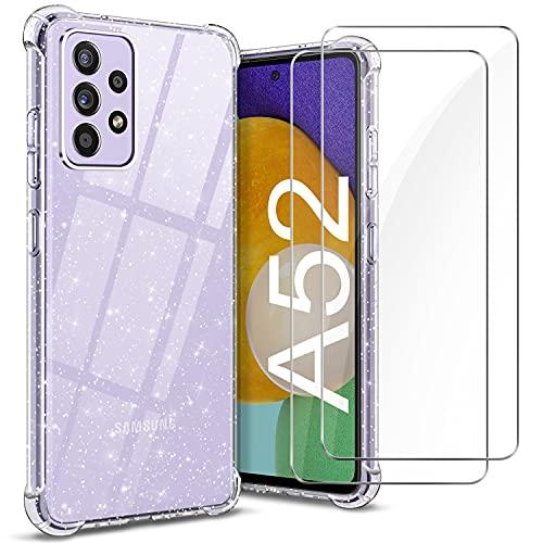 YNMEacc Coque Compatible avec Samsung Galaxy A52, Souple en TPU Transparente Silicone Case avec 2 Verres Trempés Protection écran, Crystal Glitter Etui Antichoc Housse pour Samsung Galaxy A52 4G/5G