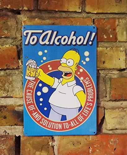 Zor345damilla Homer Simpson Bier Schild Metallschild Bar Metallschild Vintage Bierschild Bar Dekor Home Bar Schild Retro Bar Schild Bier Metall Wanddeko