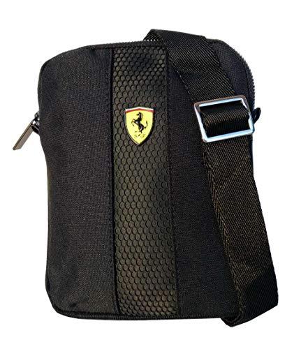 Pequeño Crossover plano bolso bandolera escudo Ferrari negro 61427