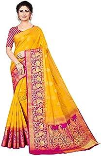 Neerav Exports Banarasi Kanjivaram Silk Flower Butta Saree (Yellow)