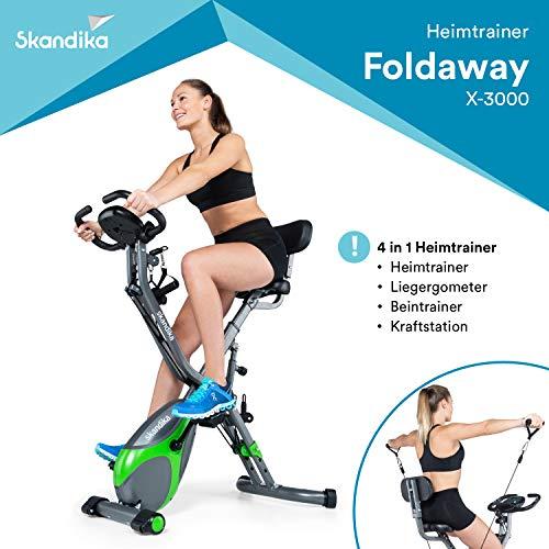 skandika Fitnessbike Foldaway X-3000 X-Bike, F-Bike mit Lehne, Ergometer Fahrrad, klappbarer Hometrainer | Multi-Gym 4 in 1 Heimtrainer, Liegeergometer, Beintrainer, Kraftstation | grün/grau
