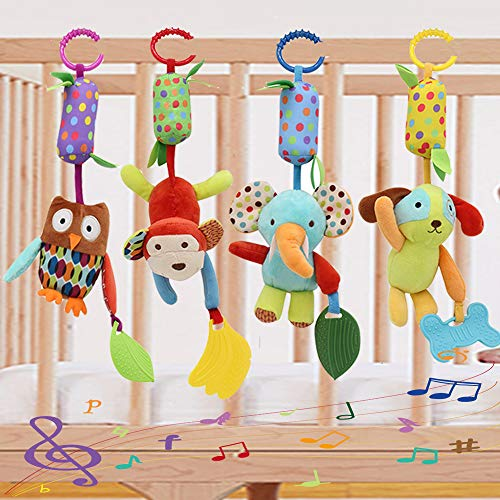 Binen Baby Toy Soft Hanging Rattle Learning Toy with Teethers Plush Animal C-Clip Ring Infant Newborn Stroller Car Seat Crib Travel Activity Wind Chimes Hanging Toys for Boys Girls, 4 Pack