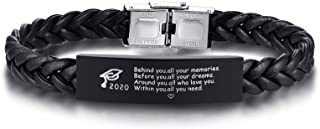 MEALGUET 2020 Grad Cap and Inspirational Quote Engraved Braided Leather Graduate ID Bracelet Wristband Graduation Gift for Son Friend Men Boy