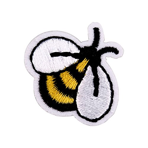 Cute Iron on Patches, Iron Embroidery Applique Decoration DIY Patch for Jeans Clothing - 1 pcs Bee Patches 1.18inch x 0.78inch for Boy and Girls