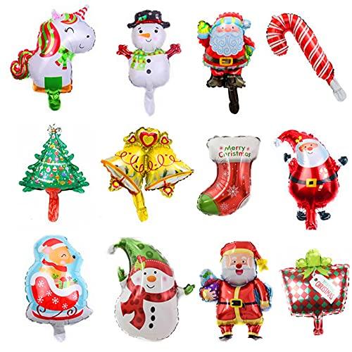 Lostwry Palloncini di Natale,24 Pezzi Kit di Palloncini per Decorazioni Natalizie Babbo Natale/Albero di Natale/Stampella Decorazione Natalizia per Casa Palloncino in Alluminio per Feste di Natale