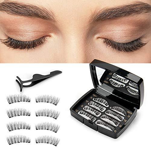 Magnetische Wimpern, 3D Künstliche Wimpern, Wiederverwendbare Magnetische Wimpern, Gespiegelte Box,Pinzette