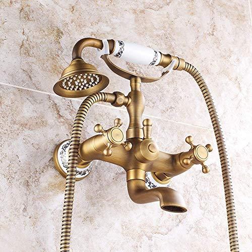 CESULIS Kits de ducha, Europeo de cerámica Estilo Teléfono Baño juego de ducha caliente de cobre antiguo y fría mezclada de agua portátil Booster Ducha Sistema 2 Función con el grifo de bronce Hermosa