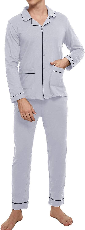 Mens Pajamas Set 100% Cotton Mens pjs Set Button Down Loungewear Classic Plaid Sleepwear Super Comfy Nightwear for Men