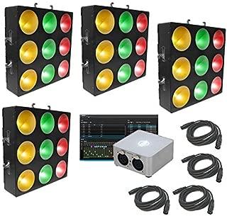 Chauvet DJ (4) Core 3X3 Pixel Mapping Tri Color Light My Dmx 2.0 Software Cables