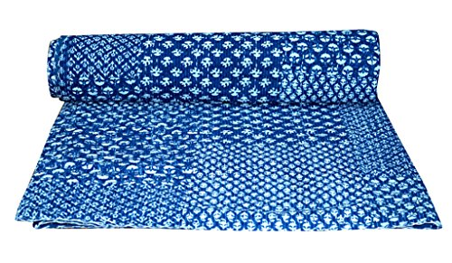 Vedant Designs Indian Natural Indigo Color, Handmade Kantha Stitch Quilt, Bed Spread, Throw.