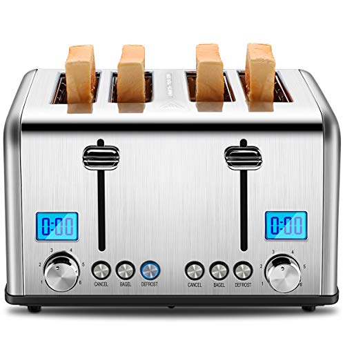 REDMOND 4 Slice Toaster, Countdown Stainless Steel Toaster with Bagel, Defrost, Cancel Function, Extra Wide Slots, 6 Bread Shade Settings, 1650W, ST030