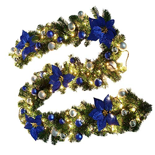 3M/5M Pre-Lit Decorated Garland with Lights Christmas Garlands Decorations, Stairs Fireplaces Artificial Wreath Garland for Xmas Festival Tree Display Indoor Outdoor Christmas Decor (blue, 3M)