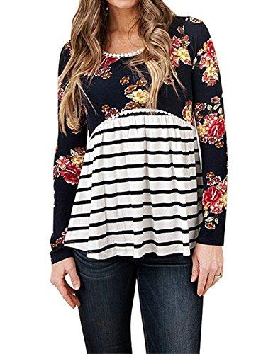 YILLEU Women's Floral Print Striped Scoop Neck Tunic Babydoll Long Sleeve Peplum Tops Blouses Black XXL