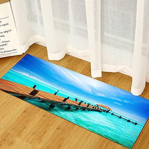 Vloerkleden Voor Hal,Antislip Gebied Tapijt Houten Brug Over De Zee Blauwe Lucht Landschap 3D Print Hal Entree Runner…