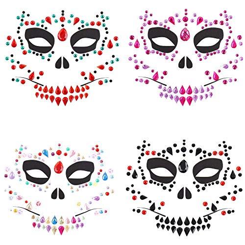 TOOGOO 4 Piezas Día de los Muertos Halloween Tatuajes Temporales de la Cara Calavera de AzúCar Tatuajes de la Cara Rosa Flor Corona Diadema para Disfraces de Halloween Disfraces Cosplay